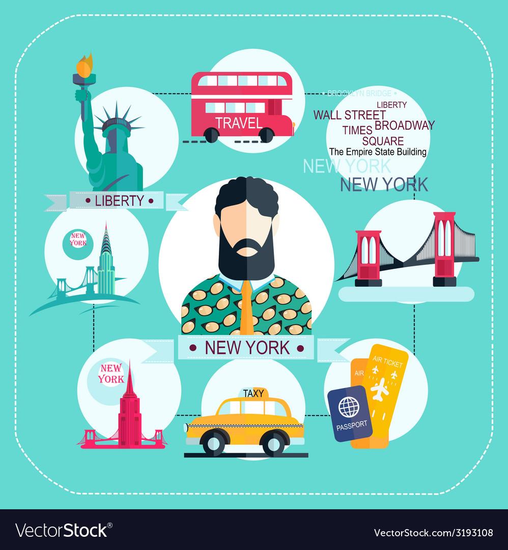 New york icon set vector | Price: 1 Credit (USD $1)