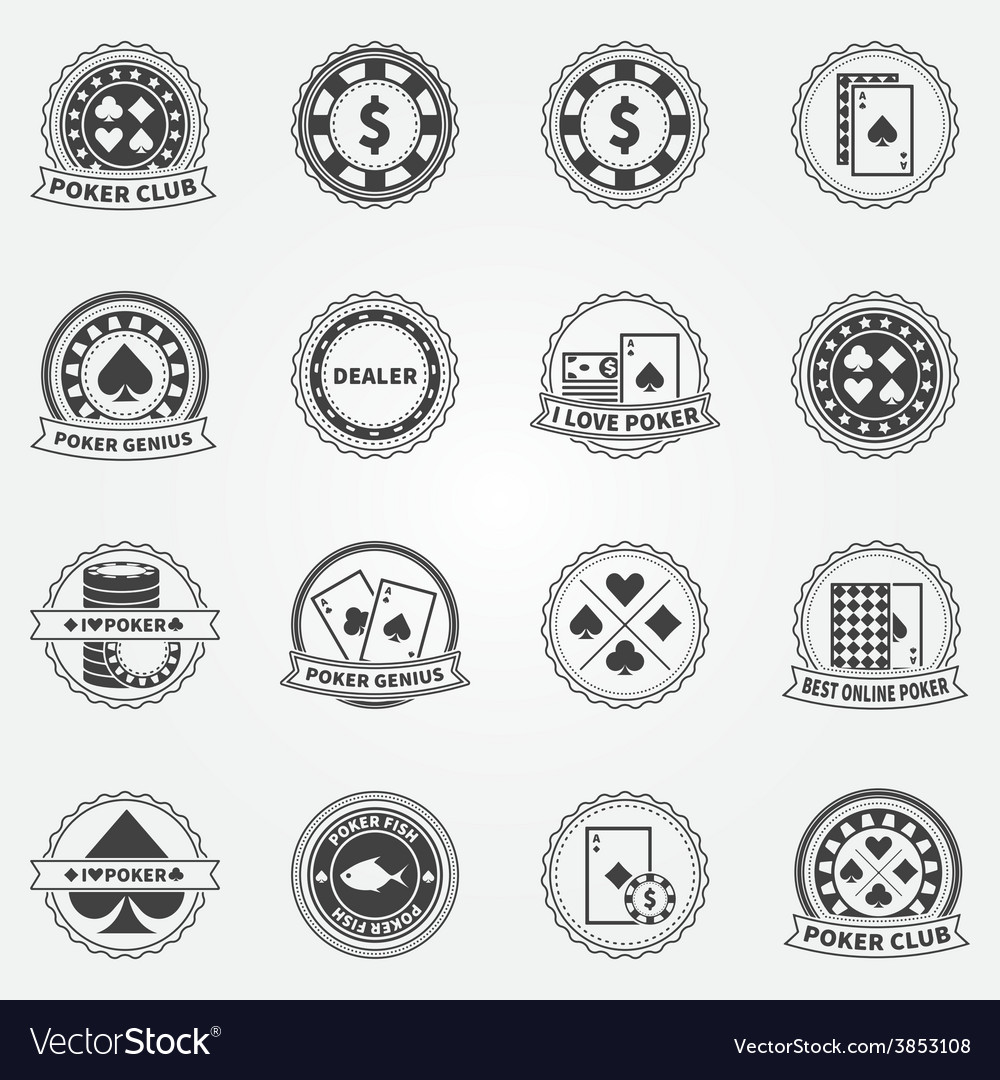 Poker labels and icons set vector | Price: 1 Credit (USD $1)