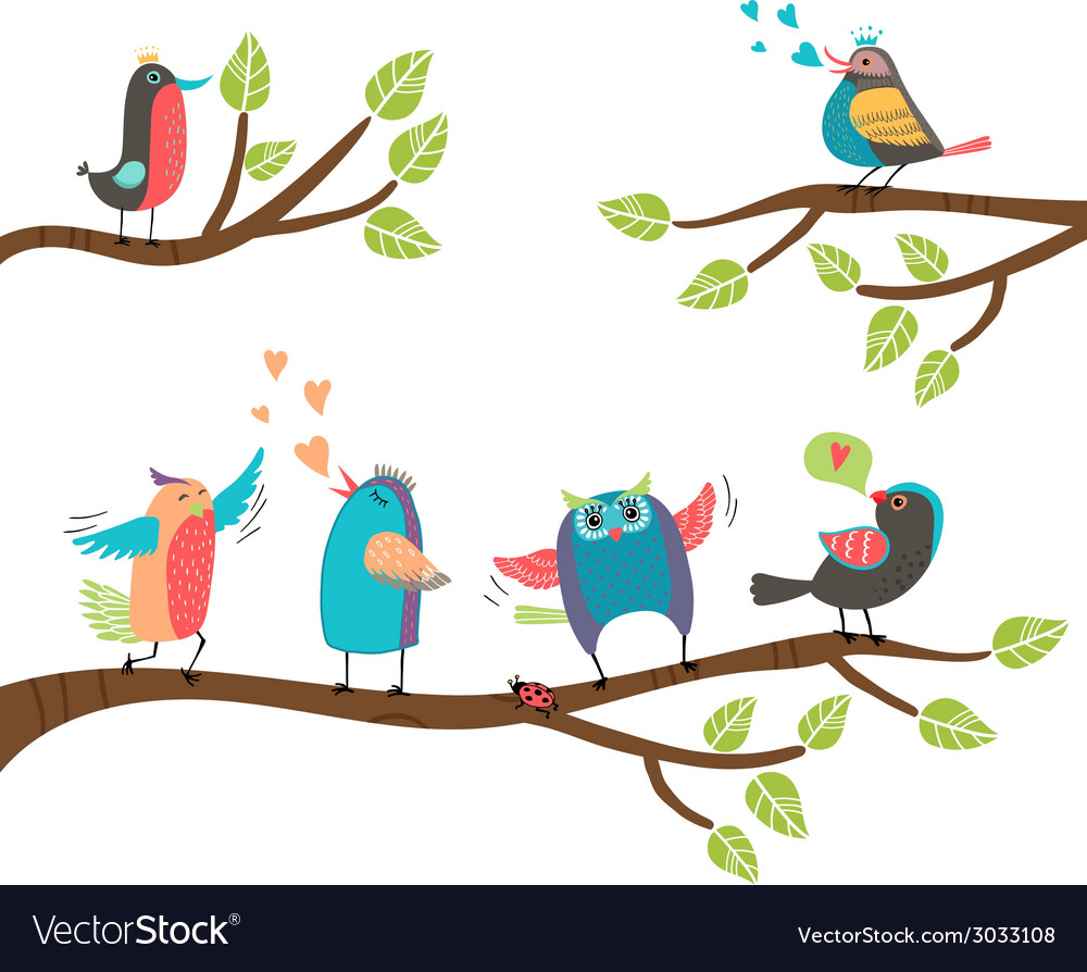 Set of colorful cartoon birds on branches vector | Price: 1 Credit (USD $1)