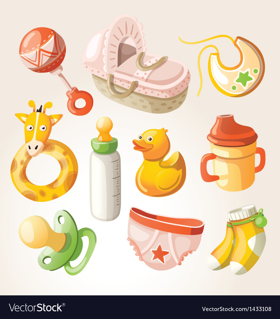 Set of design elements for baby shower vector   Price: 3 Credit (USD $3)