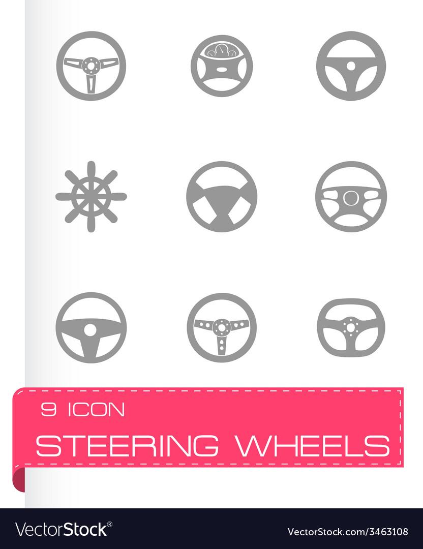 Steering wheels icon set vector   Price: 1 Credit (USD $1)