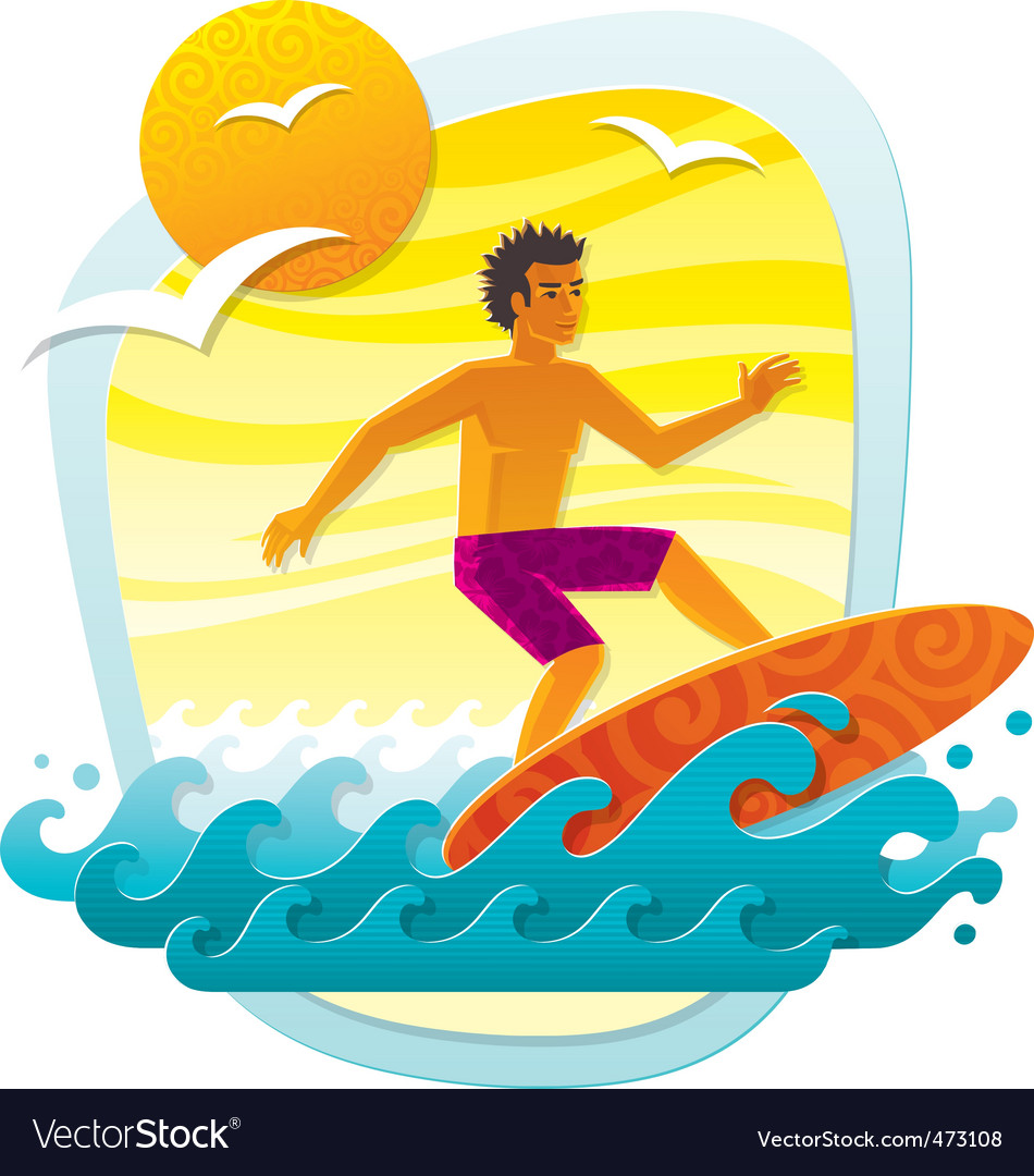 Surfing in tropical sea vector | Price: 3 Credit (USD $3)