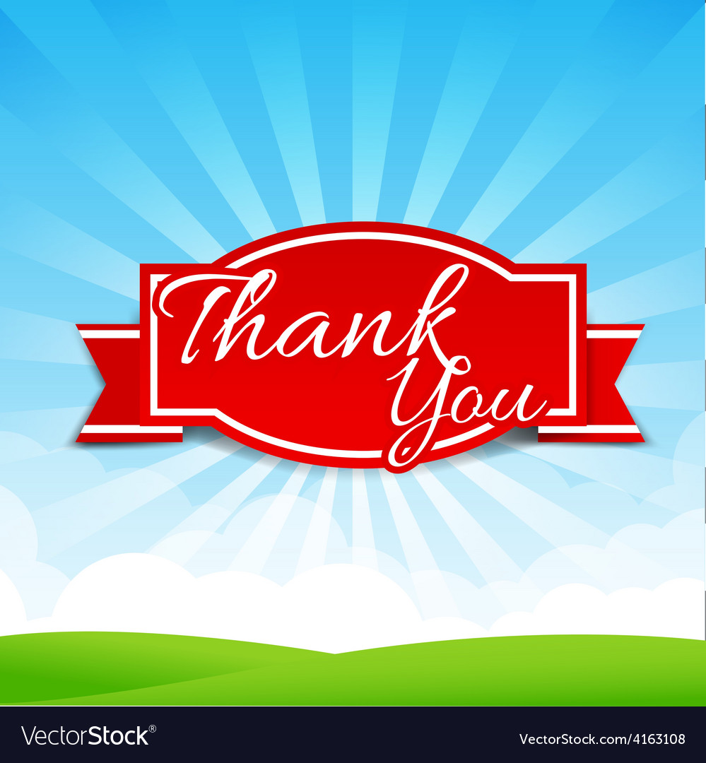 Thank you text with tag ribbon on the nature vector | Price: 3 Credit (USD $3)