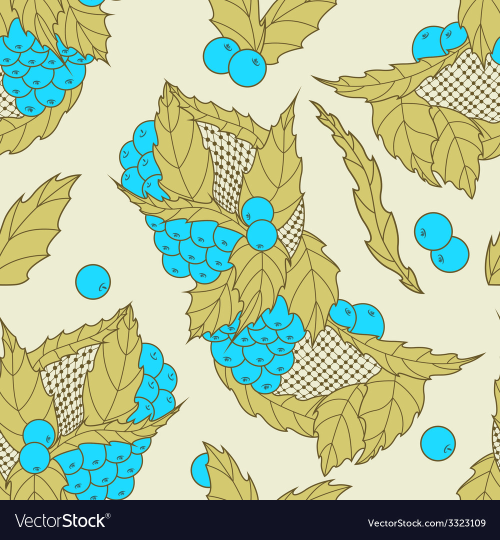 Abstract hand drawn leaves and berries seamless pa vector   Price: 1 Credit (USD $1)
