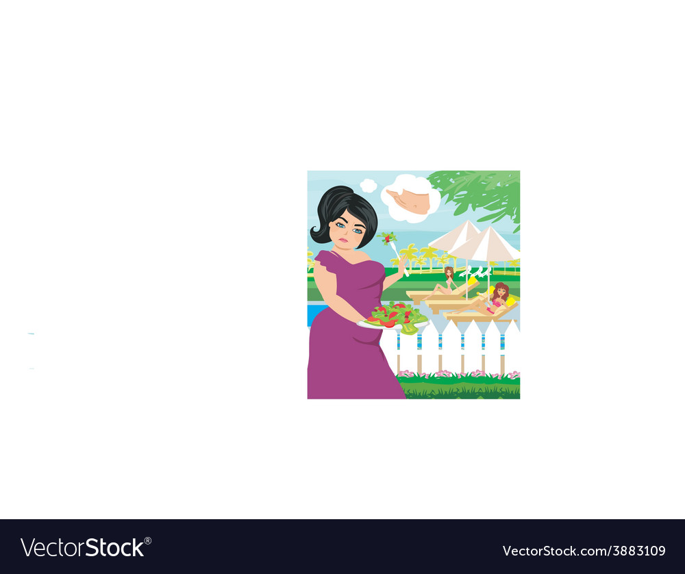 Fat girl eats a salad vector | Price: 1 Credit (USD $1)