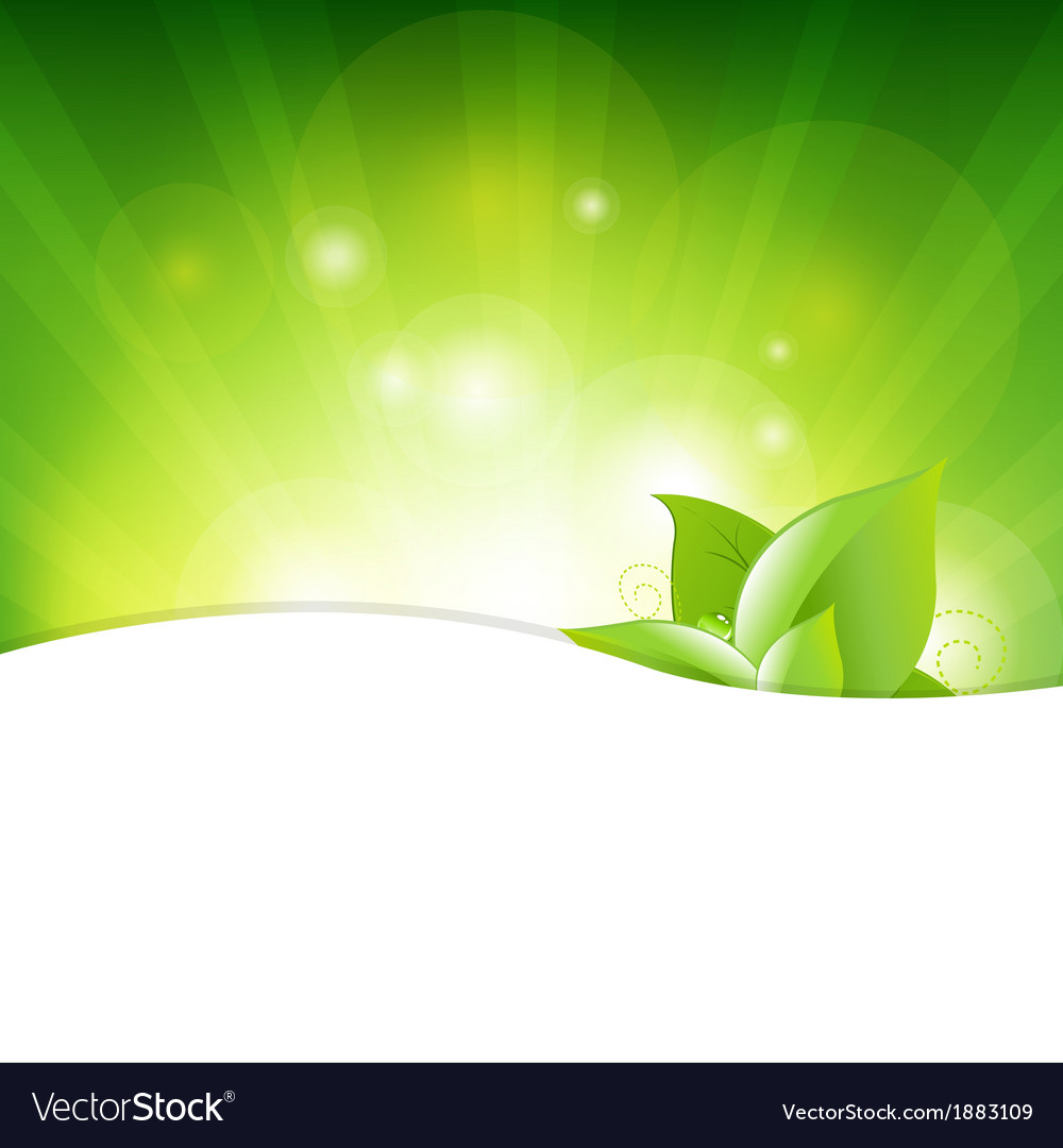 Green background with beams and leaves vector | Price: 1 Credit (USD $1)