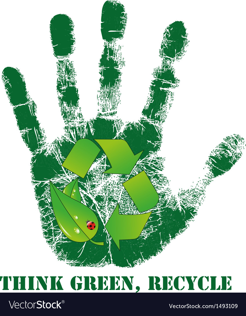 Hand print with recycle icon vector | Price: 1 Credit (USD $1)