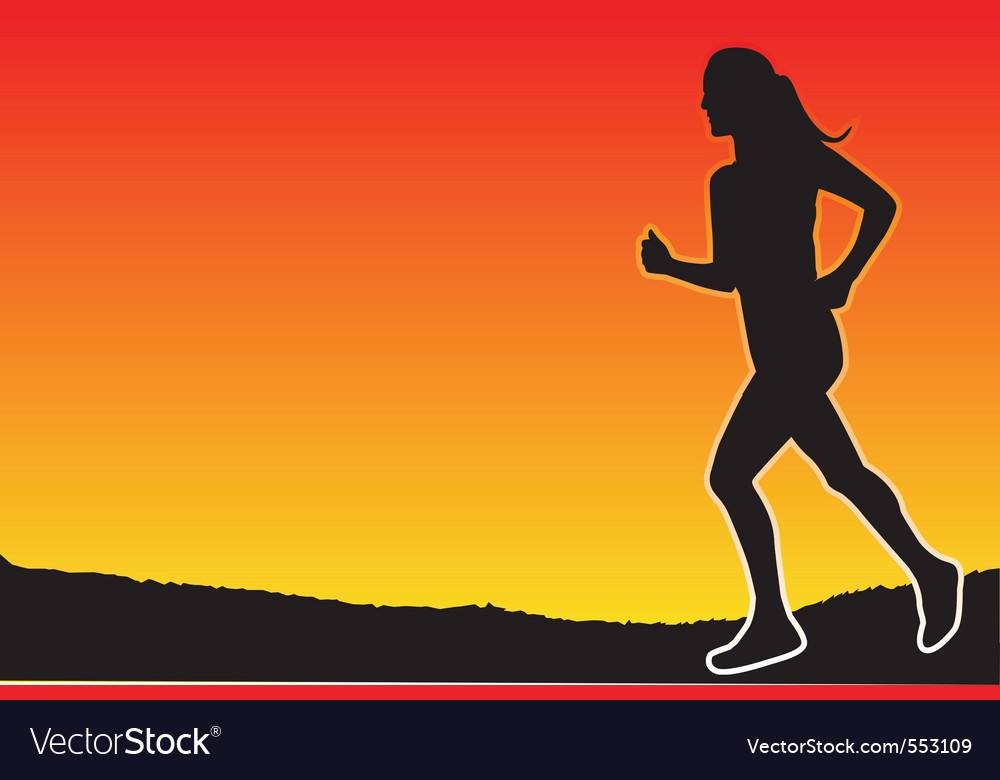 Jogging in the evening vector | Price: 1 Credit (USD $1)