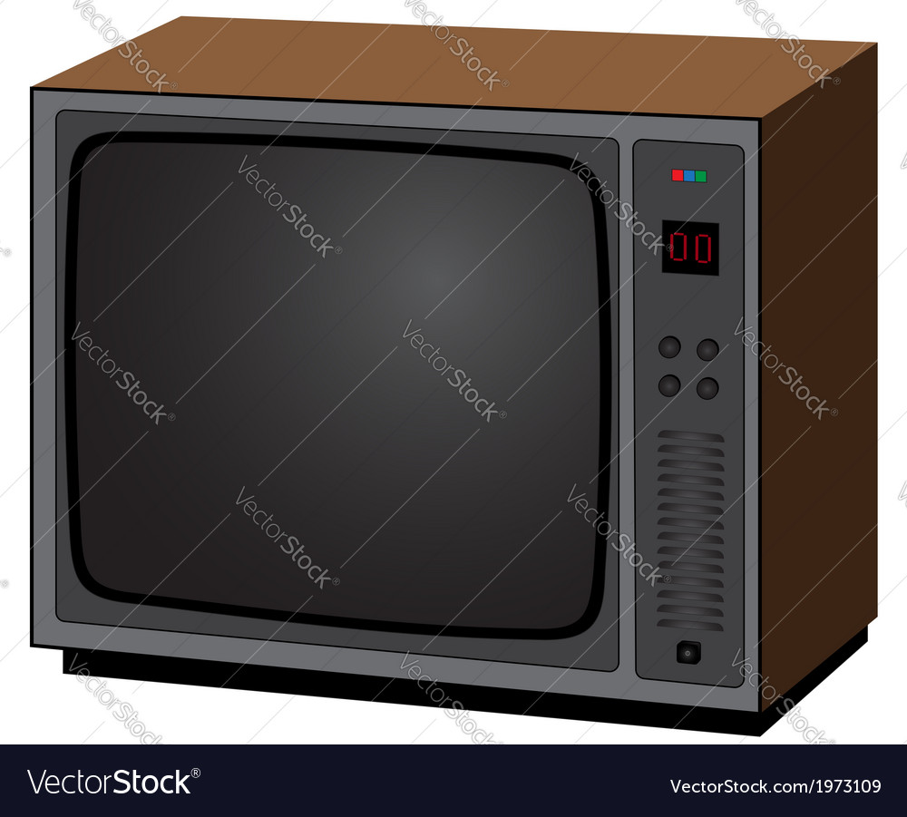 Old tv vector | Price: 1 Credit (USD $1)