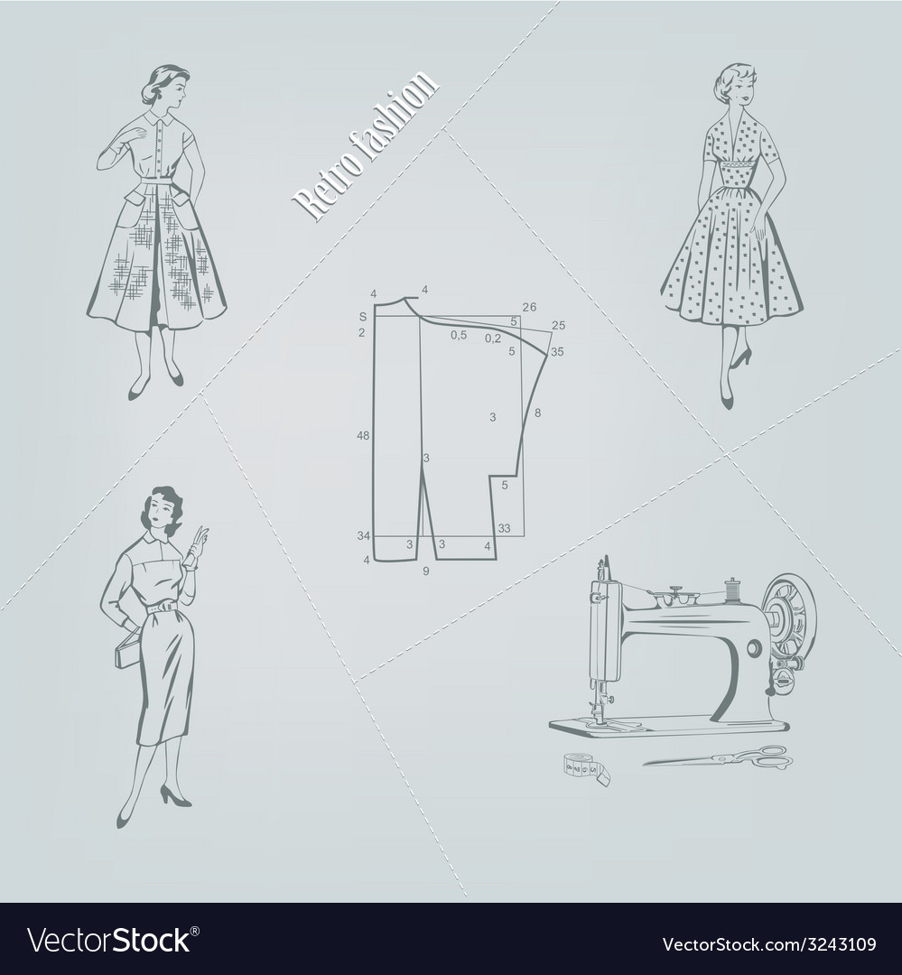 Retro fashion on a gray background vector | Price: 1 Credit (USD $1)