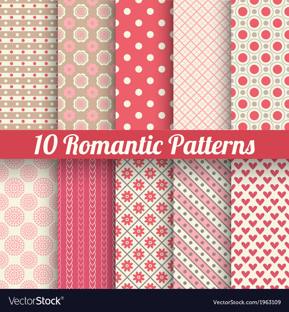 Romantic seamless patterns tiling with swatch vector | Price: 1 Credit (USD $1)