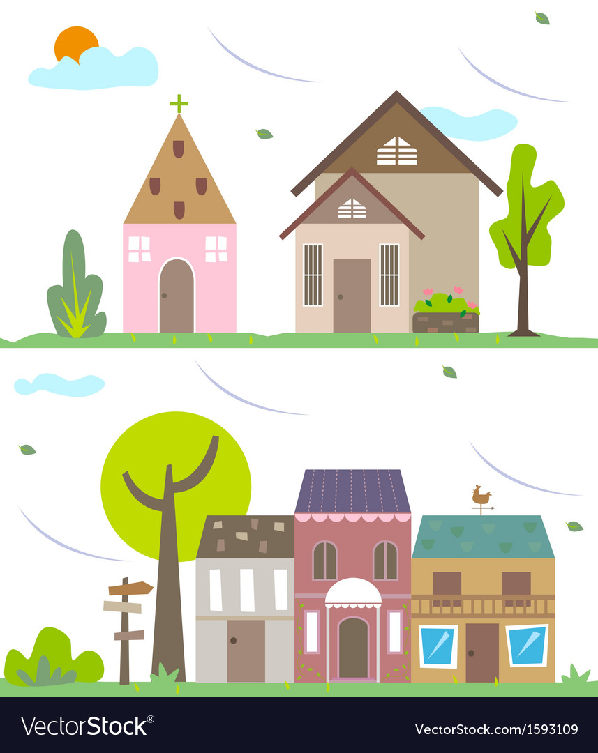 Small village vector | Price: 1 Credit (USD $1)