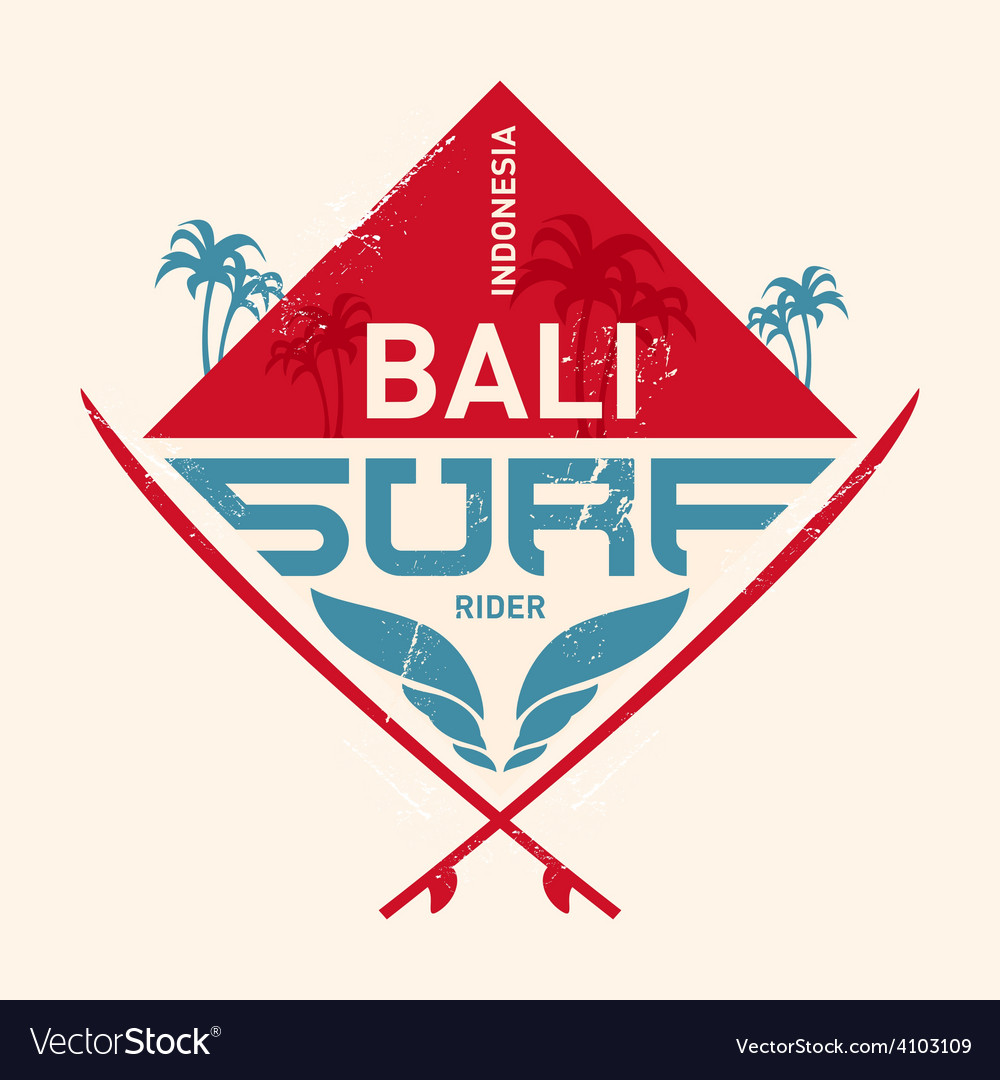 Surfing vintage lable with waves palm and vector | Price: 1 Credit (USD $1)