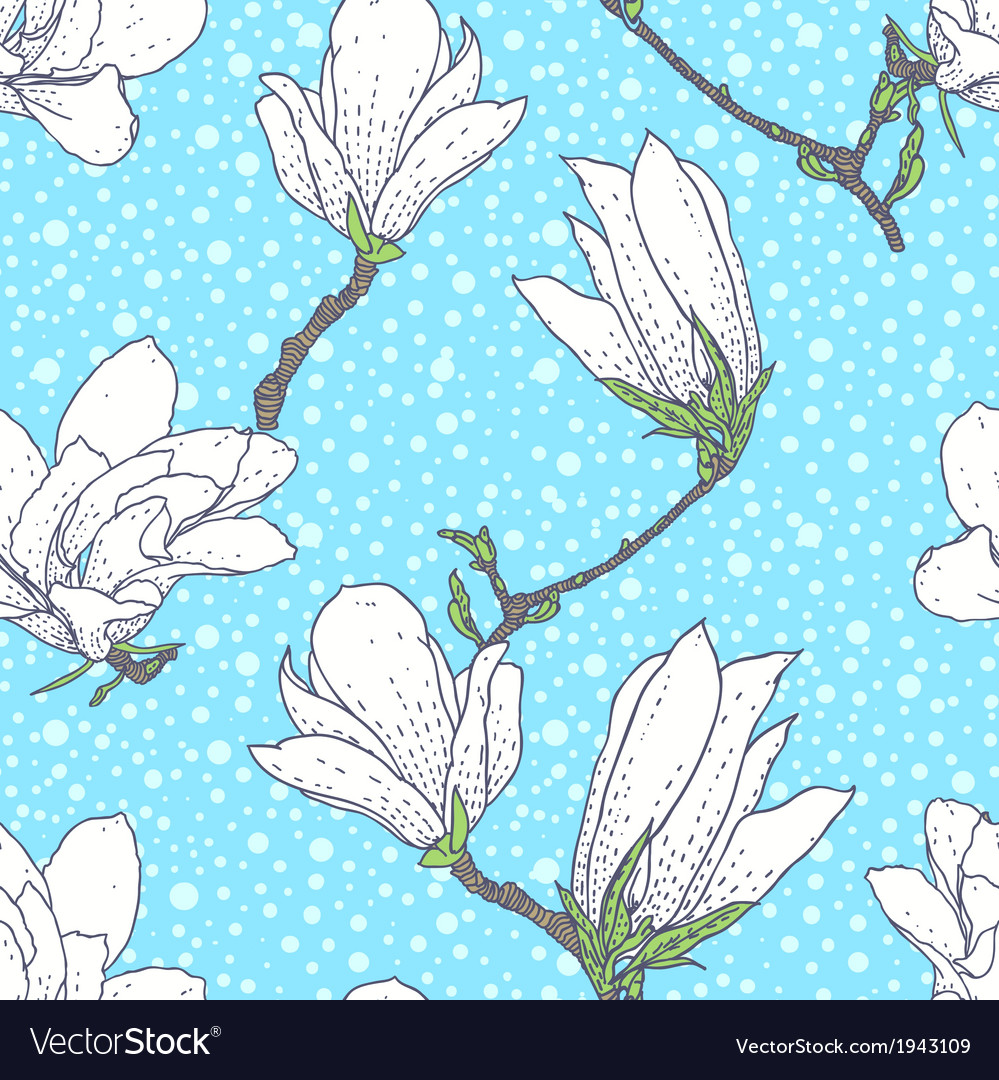 Vintage pattern with magnolia flowers vector | Price: 1 Credit (USD $1)