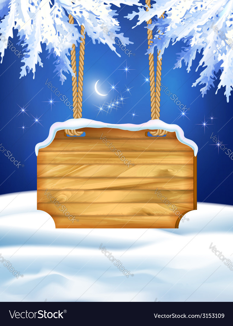 Winter night landscape wooden board vector | Price: 1 Credit (USD $1)