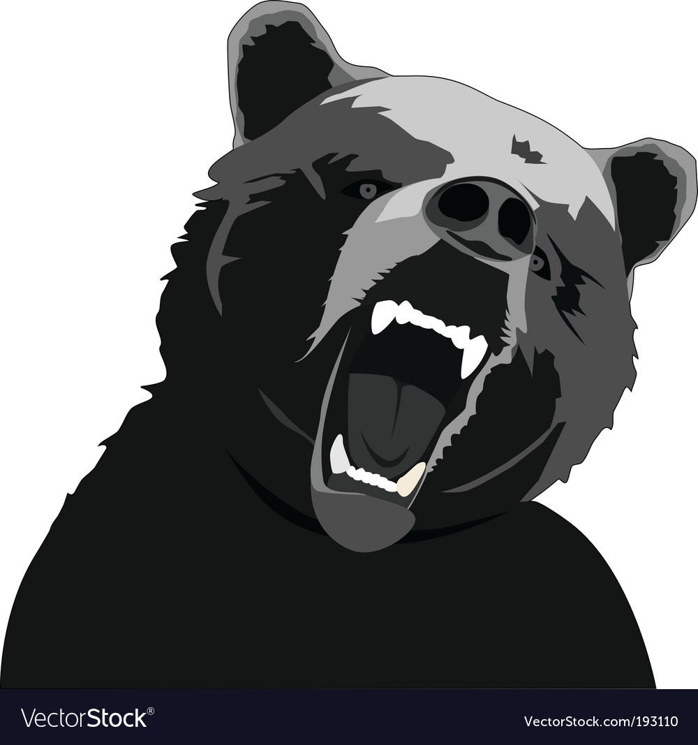 Angry bear stencil vector | Price: 1 Credit (USD $1)