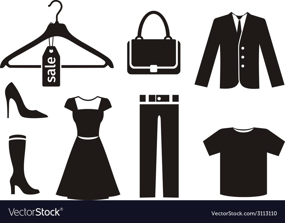 Clothes icon set in black vector | Price: 1 Credit (USD $1)