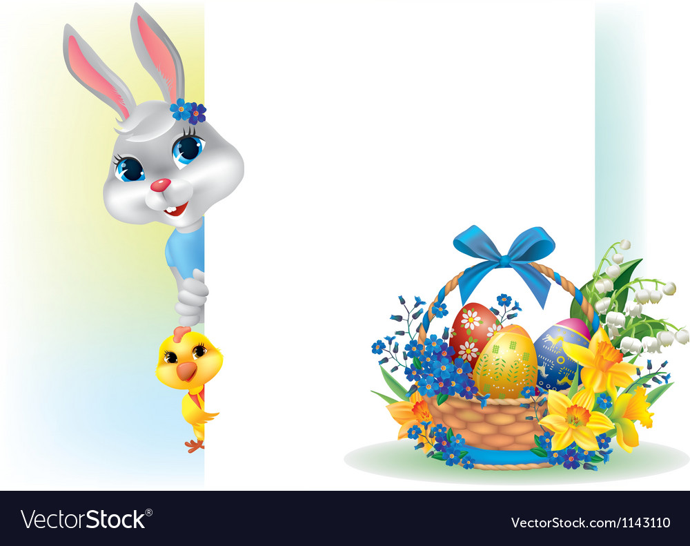 Easter background with rabbit chicken and basket vector | Price: 3 Credit (USD $3)