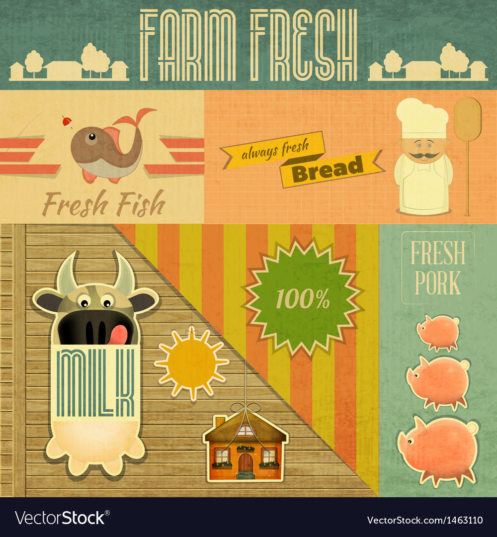 Farm fresh organic products vector | Price: 1 Credit (USD $1)