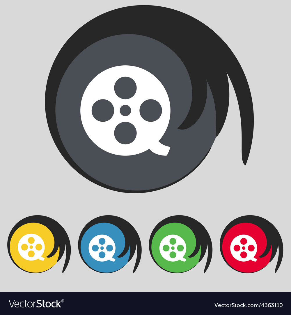 Film icon sign symbol on five colored buttons vector | Price: 1 Credit (USD $1)