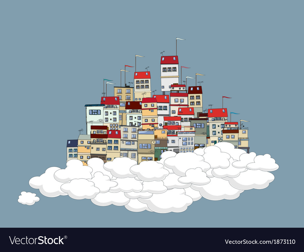 Flying city vector | Price: 1 Credit (USD $1)