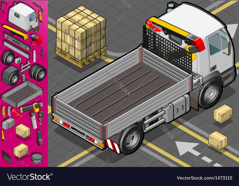 Isometric container truck vector | Price: 1 Credit (USD $1)