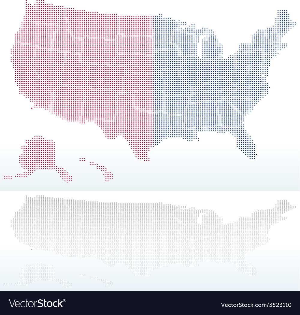 Map of united states of america with with dot vector | Price: 1 Credit (USD $1)