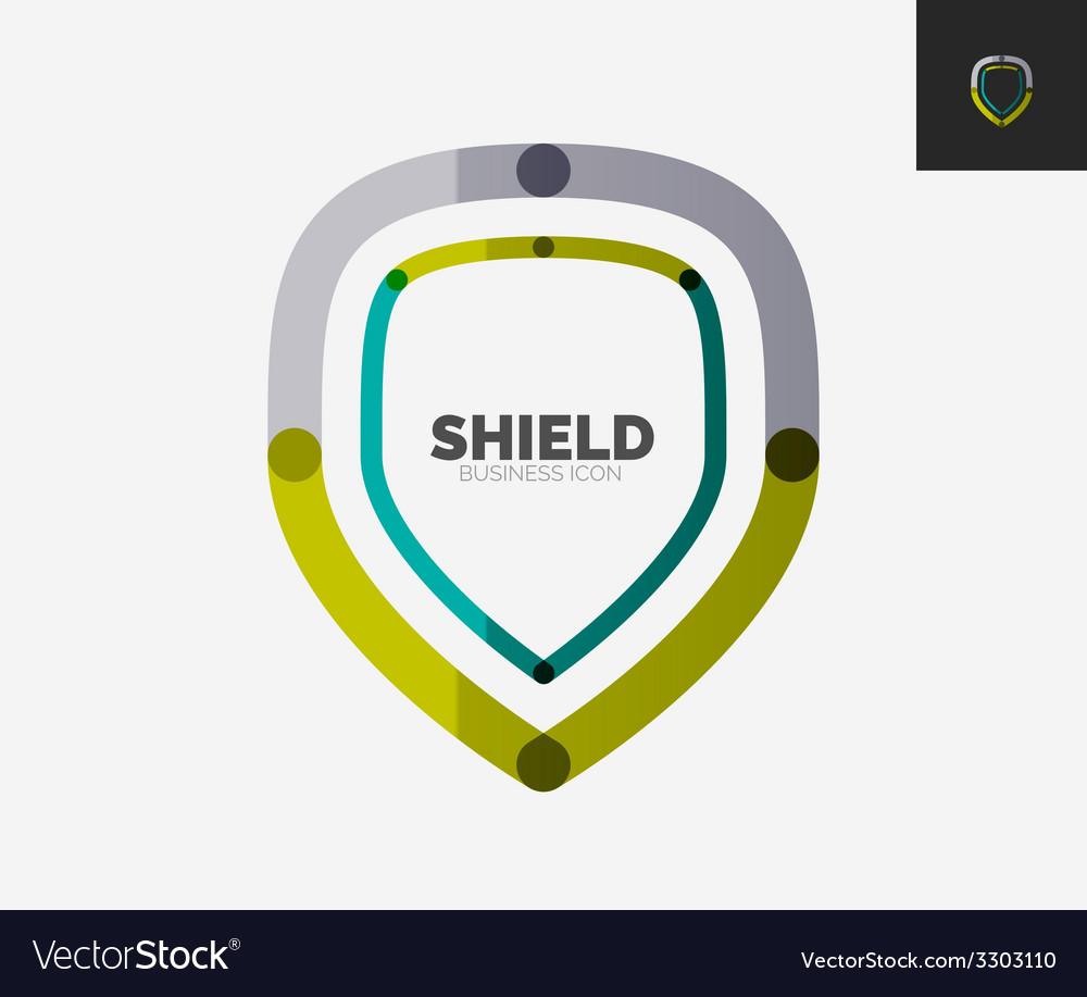 Minimal line design logo shield icon vector | Price: 1 Credit (USD $1)