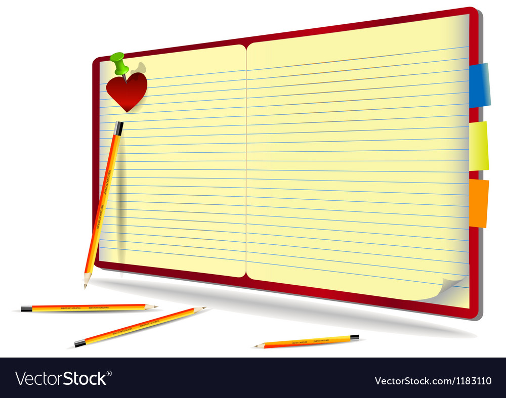 Notebook with pencil needle and heart vector | Price: 3 Credit (USD $3)