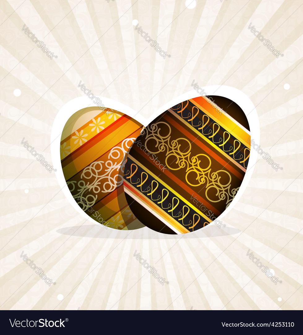 Orange and brown easter eggs vector | Price: 3 Credit (USD $3)