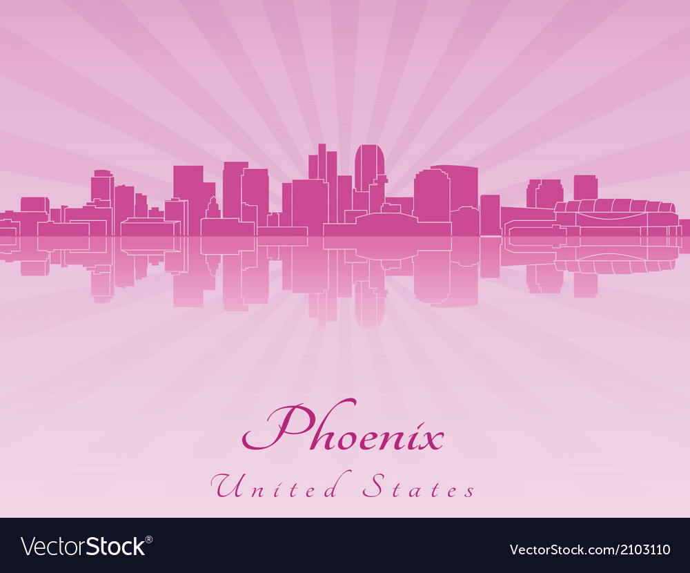 Phoenix skyline in purple radiant orchid vector | Price: 1 Credit (USD $1)