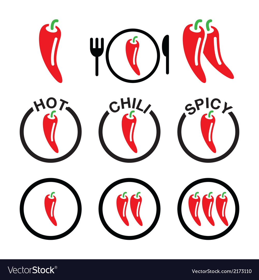 Red hot chili peppers icons set vector | Price: 1 Credit (USD $1)