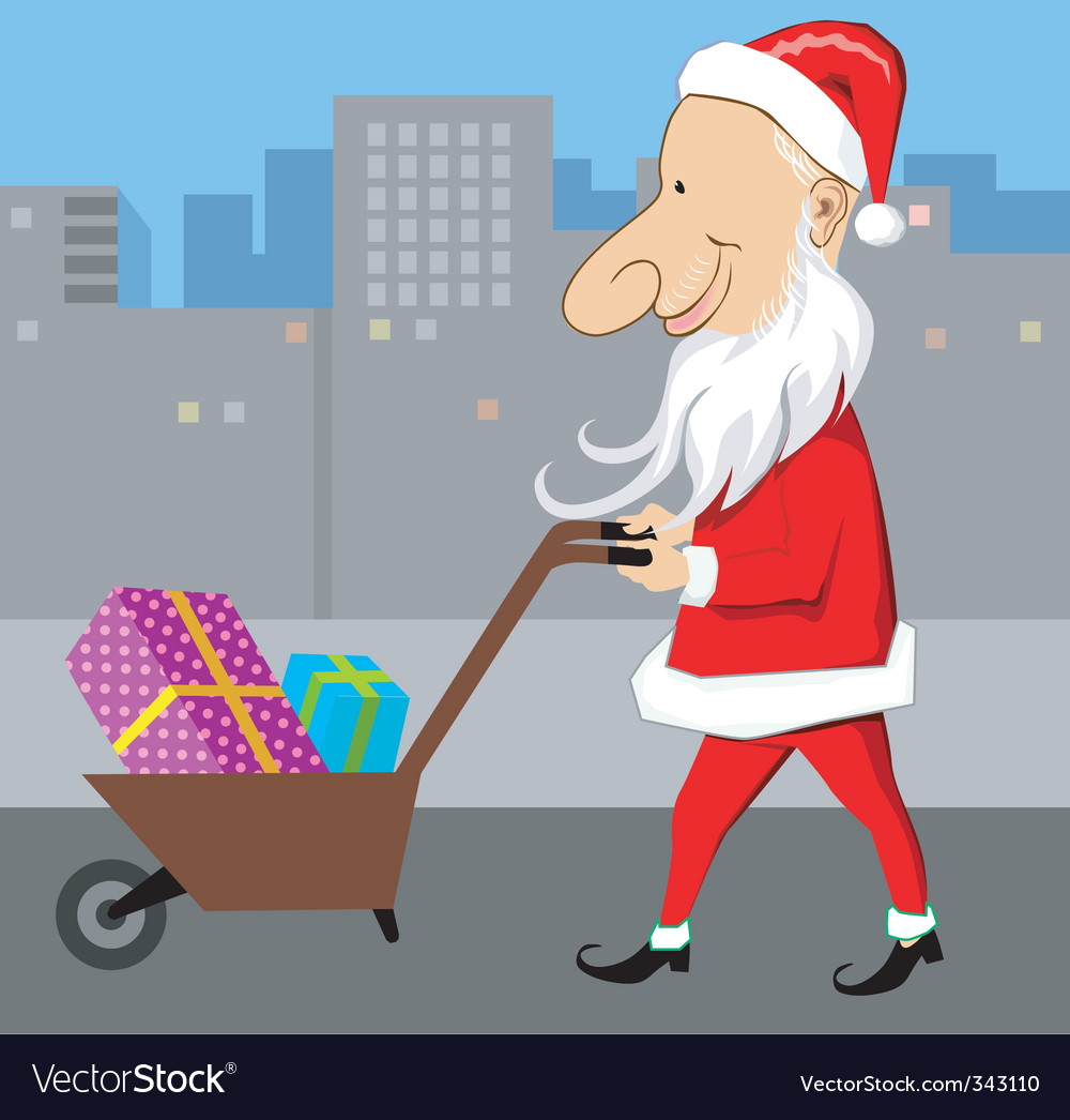 Santa and wheel barrow vector | Price: 1 Credit (USD $1)