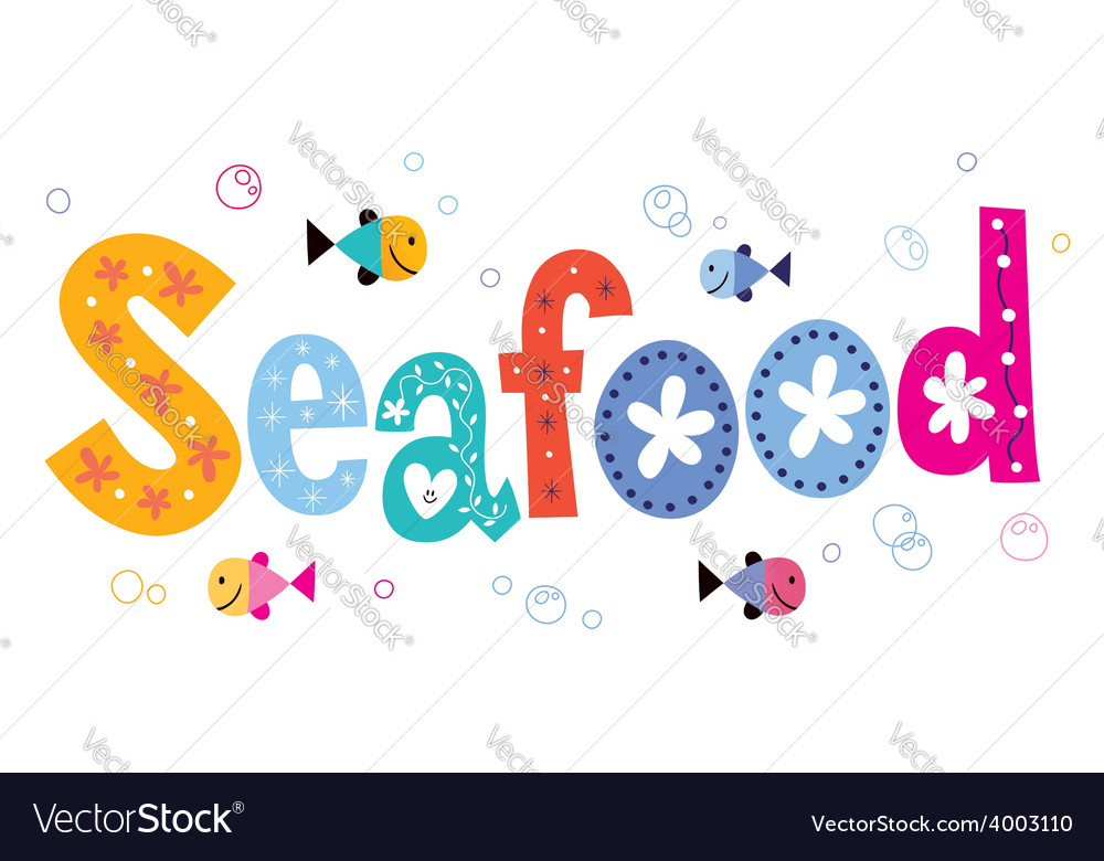 Seafood text vector | Price: 1 Credit (USD $1)