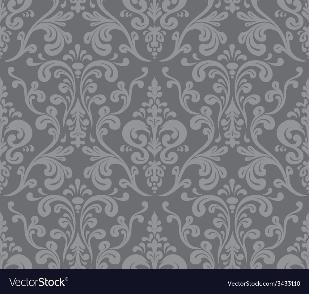 Seamless elegant damask pattern grey vector | Price: 1 Credit (USD $1)