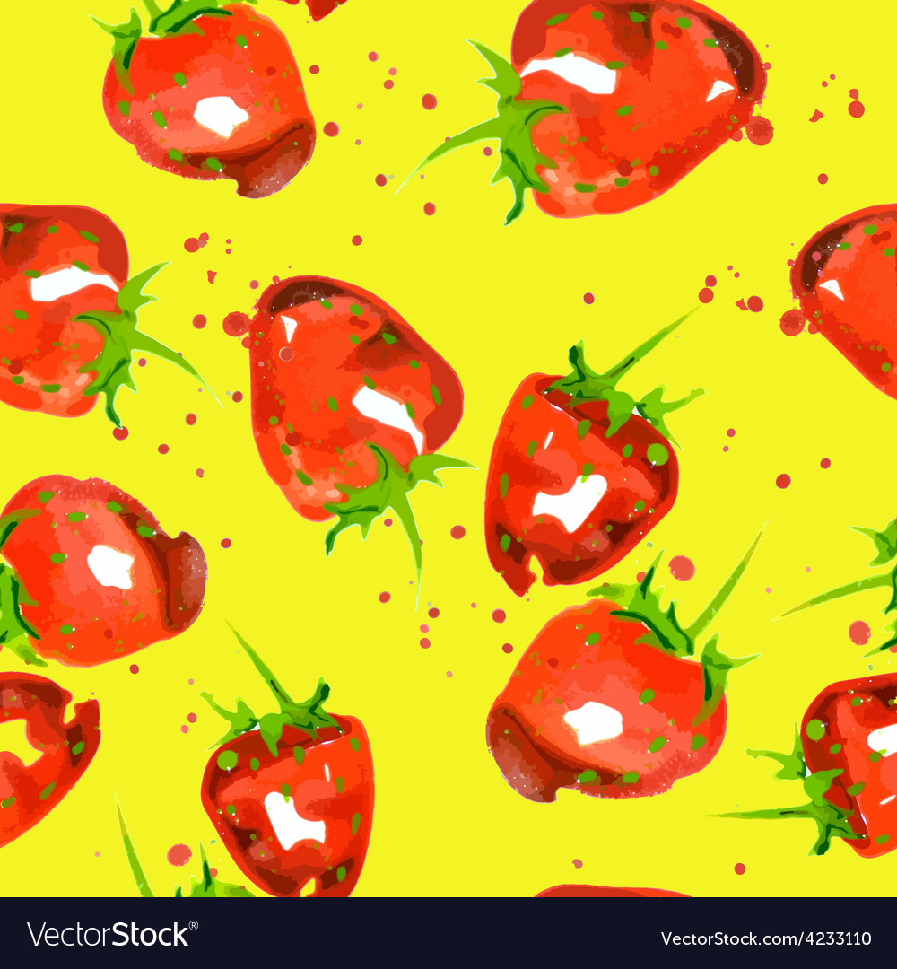 Seamless pattern of watercolor strawberry vector | Price: 1 Credit (USD $1)