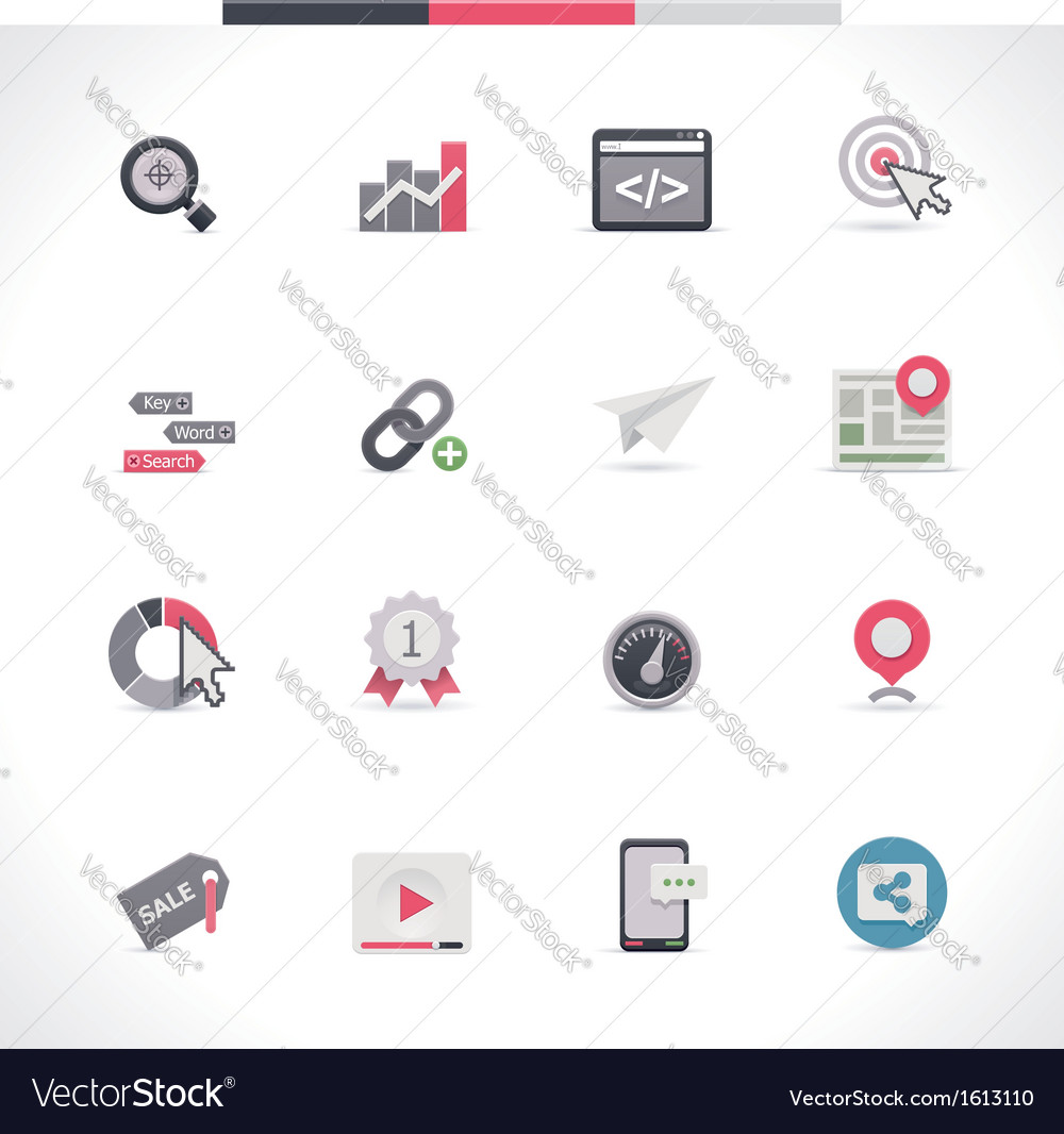 Seo icon set part 1 vector | Price: 1 Credit (USD $1)