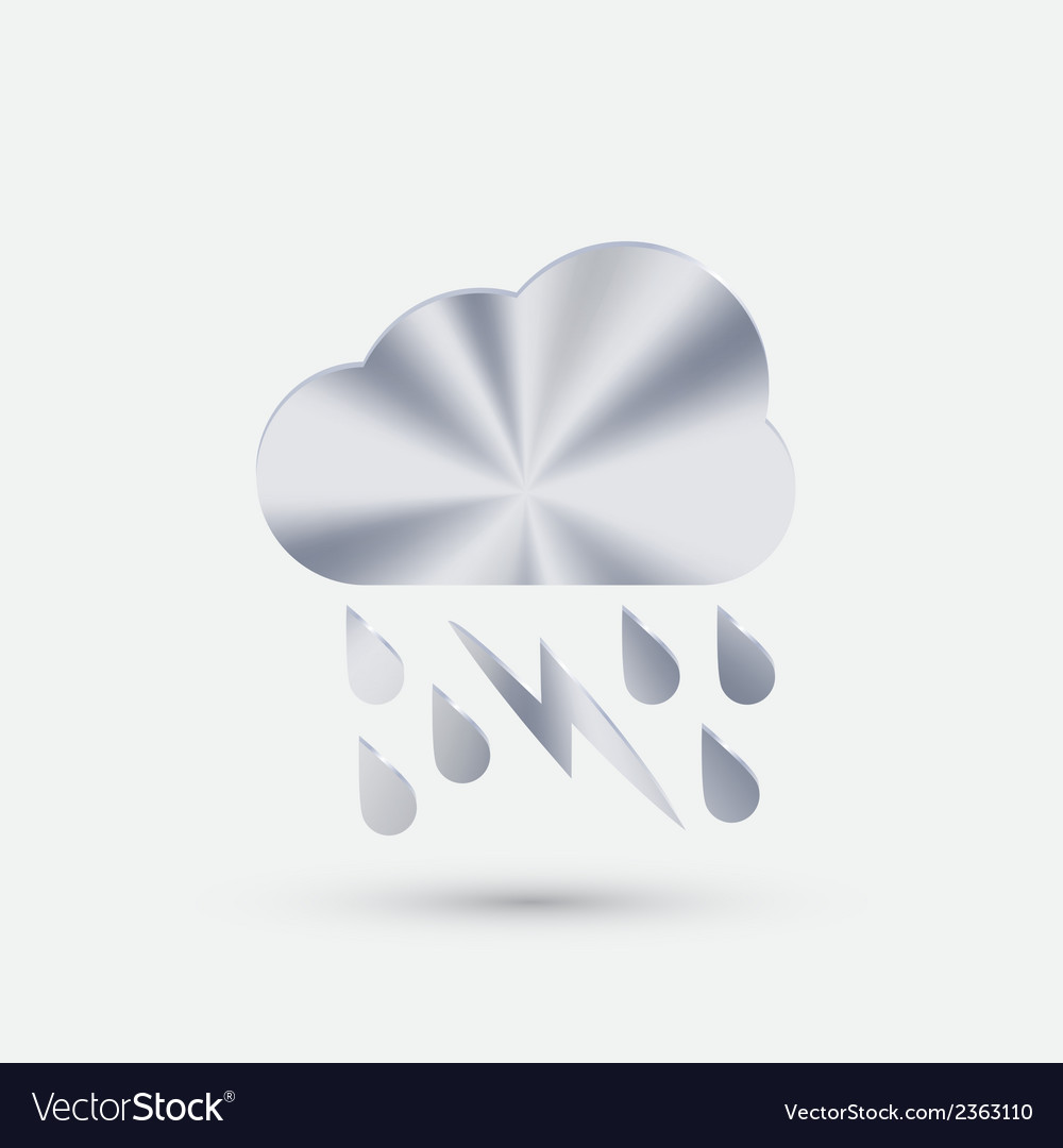 Steel icon cloud rain lightning vector | Price: 1 Credit (USD $1)