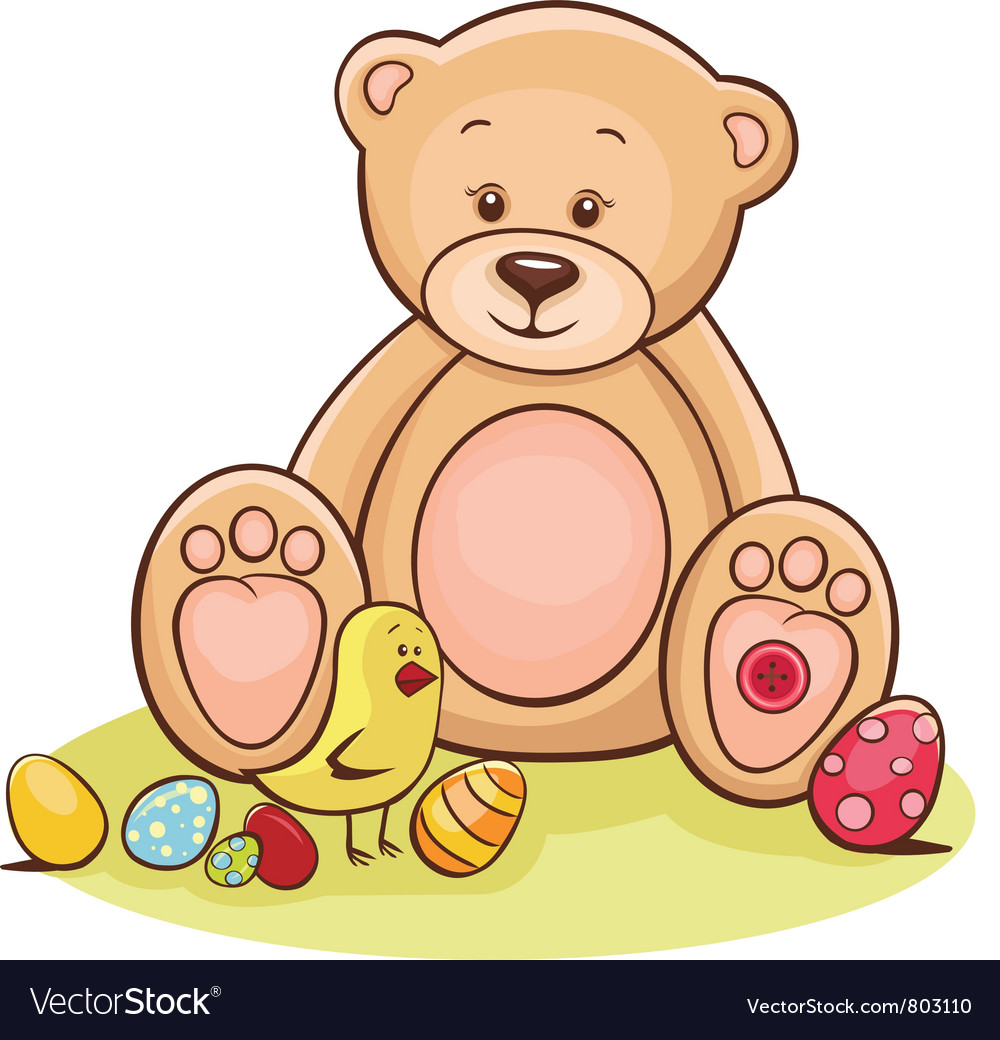 Teddy and easter chicken with eggs vector | Price: 3 Credit (USD $3)