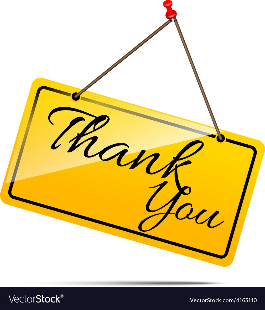 Thank you on yellow sign message symbol isolated vector | Price: 1 Credit (USD $1)