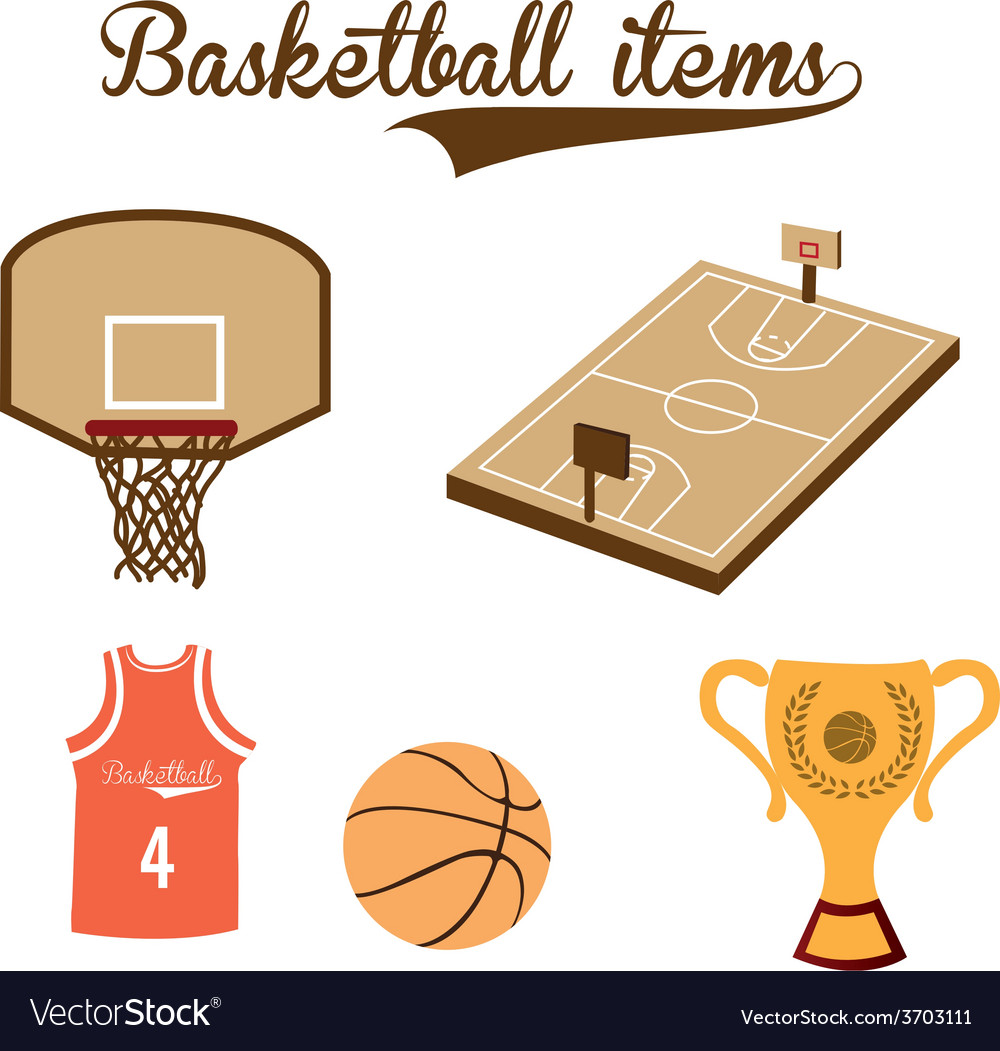 A set of basketball items on a white background vector | Price: 1 Credit (USD $1)