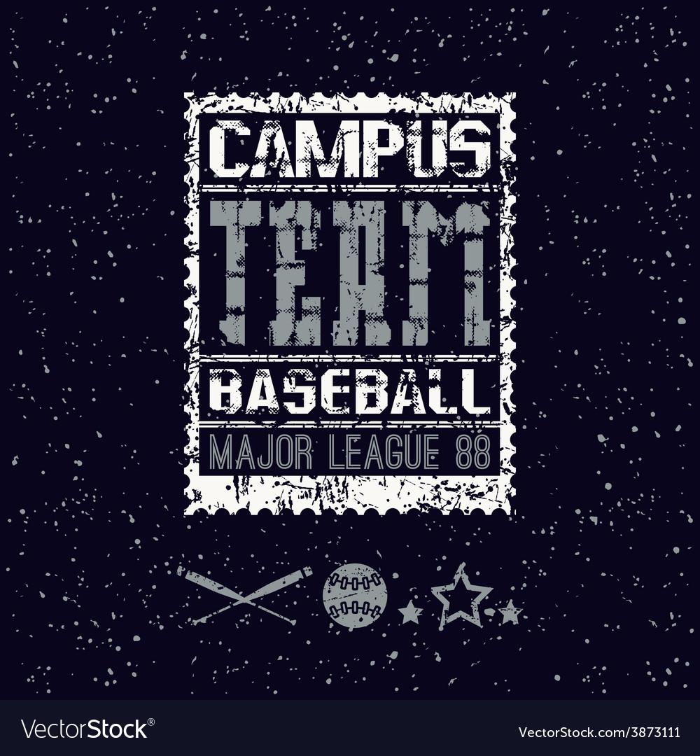 College print baseball team vector | Price: 1 Credit (USD $1)