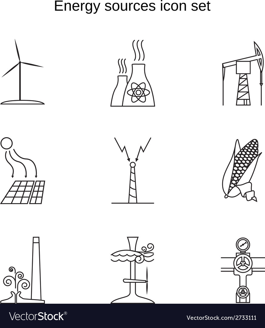 Energy sources icon set vector | Price: 1 Credit (USD $1)