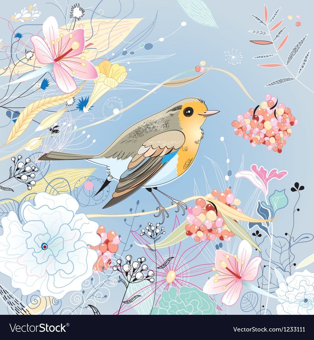 Floral background with a bird vector | Price: 3 Credit (USD $3)