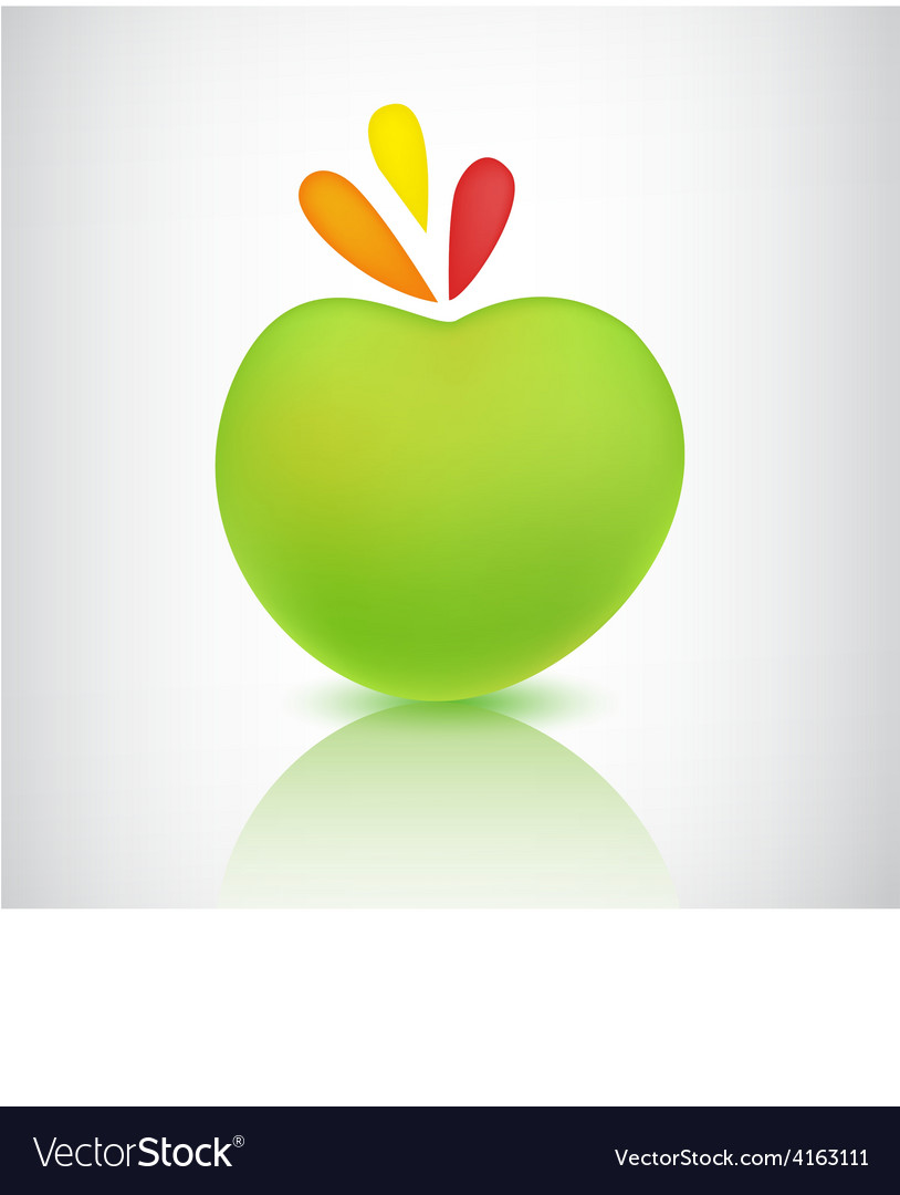 Green apple icon with shadow and reflection vector | Price: 1 Credit (USD $1)