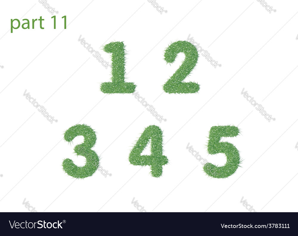 Numbers text of green grass part one vector   Price: 1 Credit (USD $1)