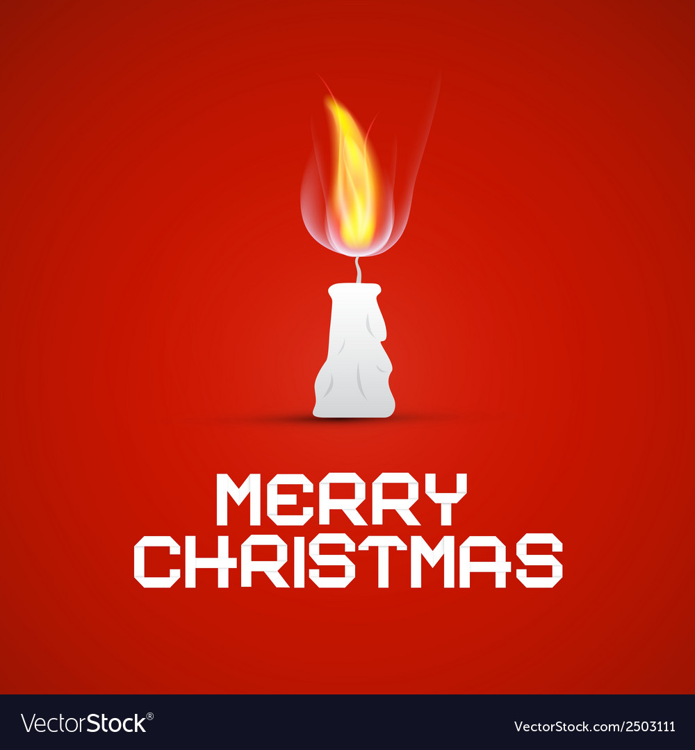 Red christmas template with burning candle vector   Price: 1 Credit (USD $1)