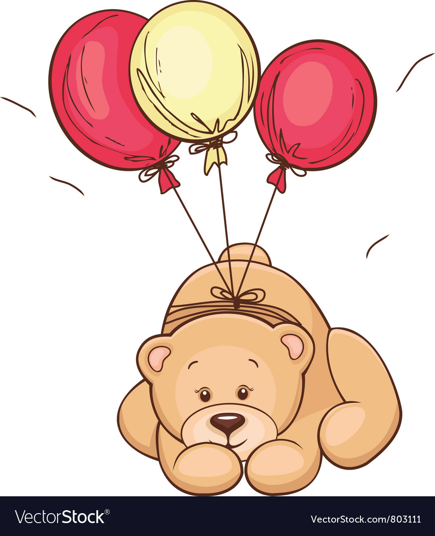 Teddy bear and balloons vector | Price: 3 Credit (USD $3)