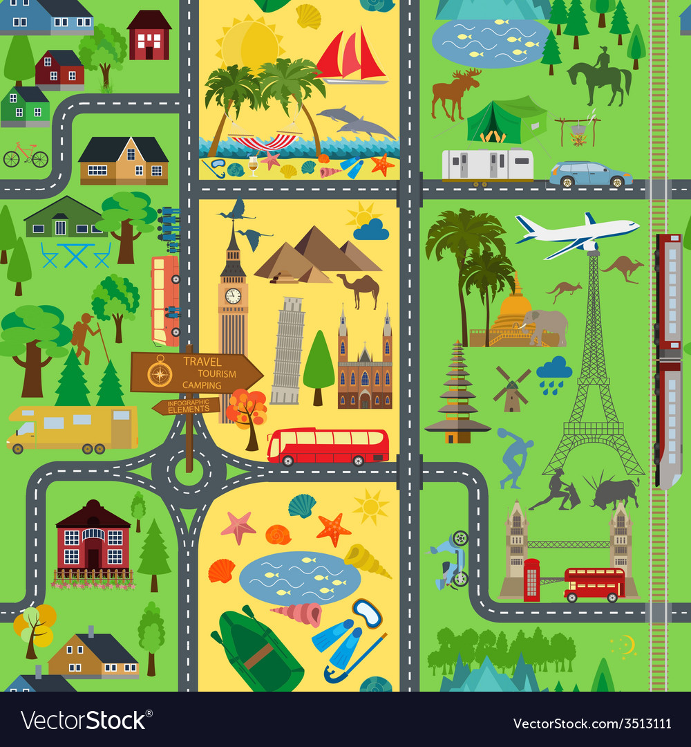 Travel background vacations beach resort camping vector | Price: 1 Credit (USD $1)