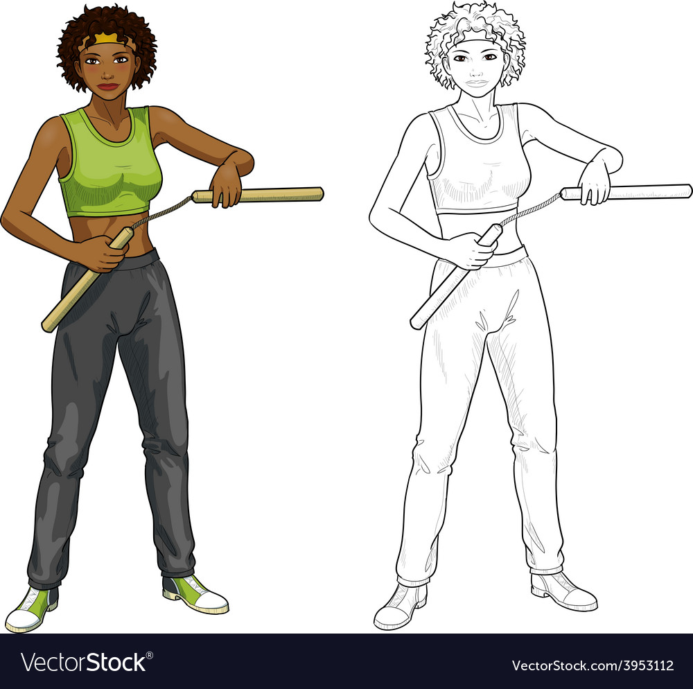African american nunchuck girl in sport uniform vector | Price: 1 Credit (USD $1)